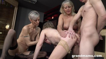 Triple Blonde Granny Orgy GrandMams