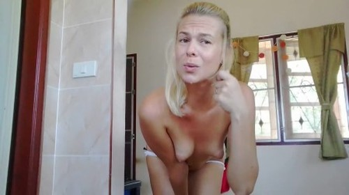 Dirty and Messy Enema in White Panty - Solo Scat, Defecation, Shiting Girl, Dirty Ass