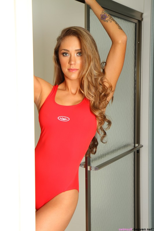 charming babe Ashley Light in red one piece swimsuit
