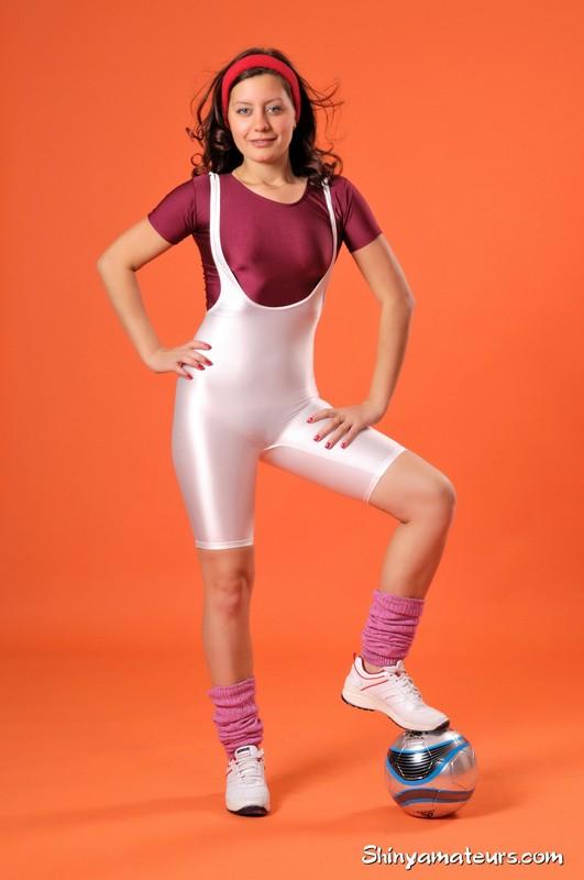 sexy football girl Vera G in white spandex shorts