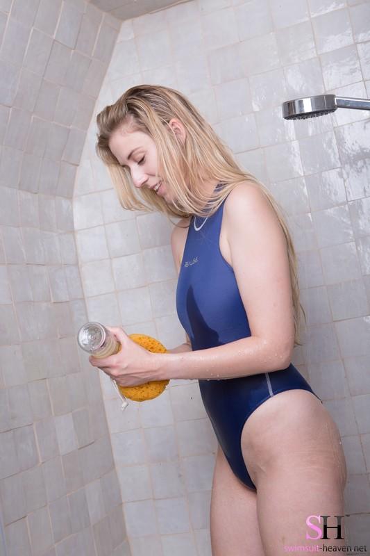 bathroom girl Sasha Gemini in wet realise swimsuit