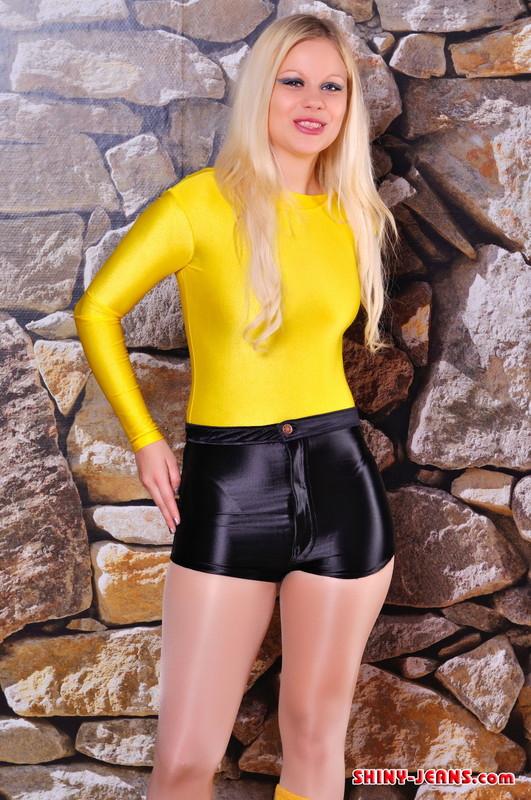 blonde teen Lena A in shiny shorts & pantyhose