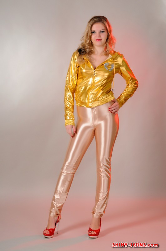 russian model Katya A in shiny disco pants