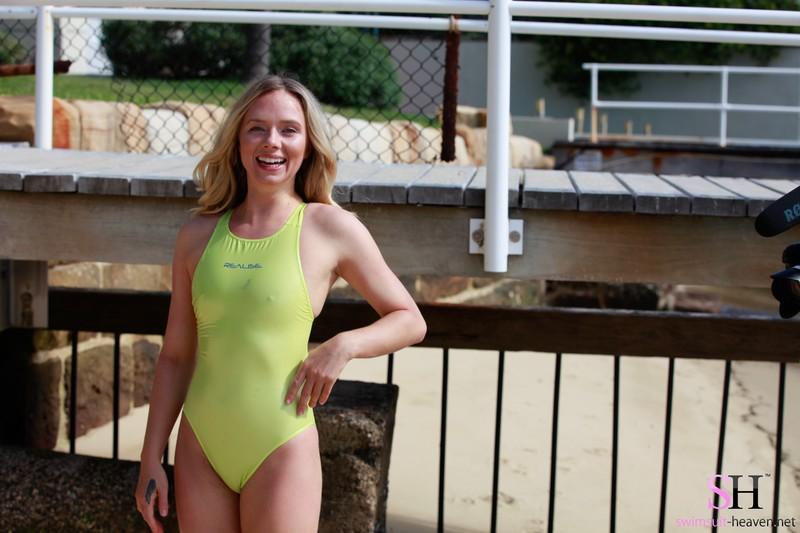 charming model Heidi in green realise swimsuit