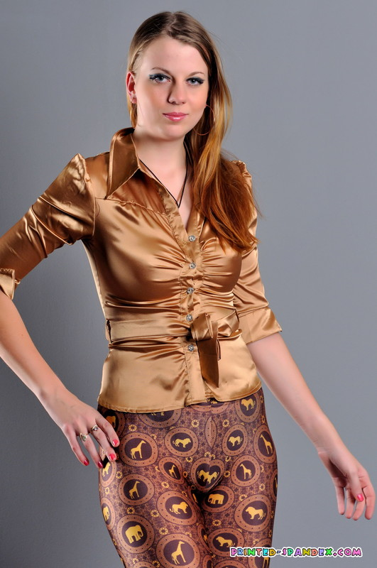 slavic babe Julia V in kinky spandex pants & high heels