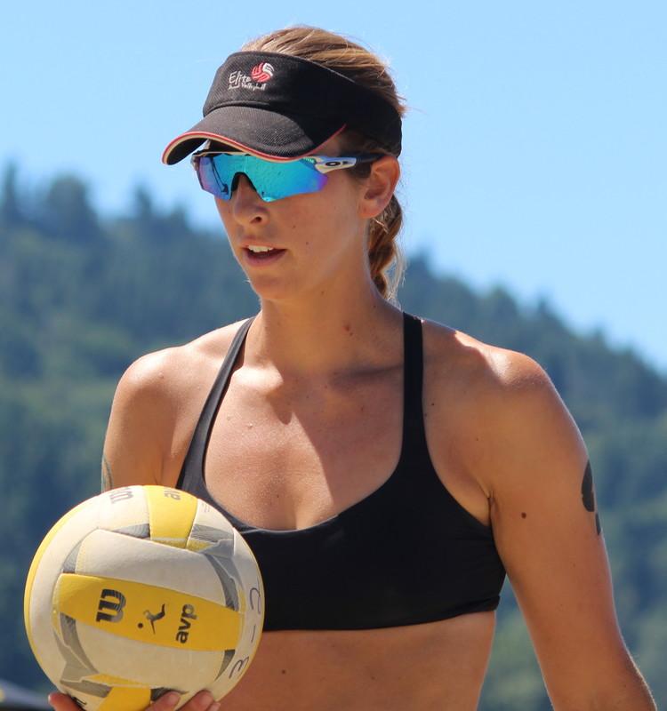 beach volleyball girl in naughty bikini