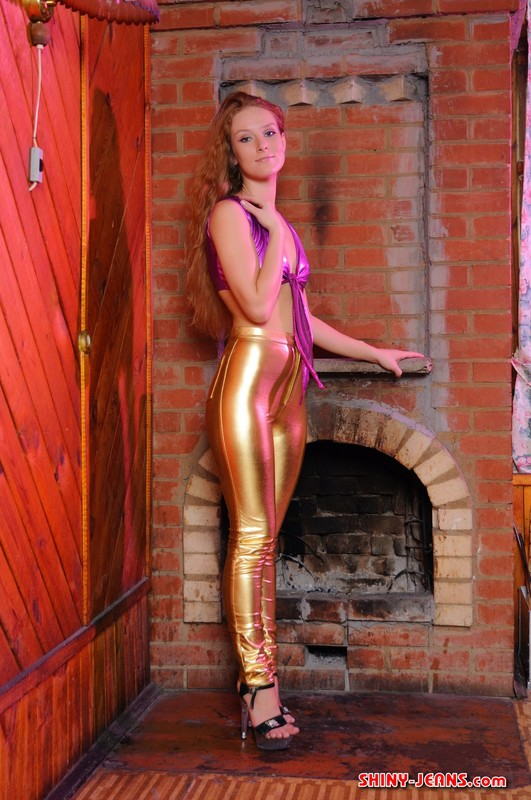 slavic babe Katya V in golden disco pants