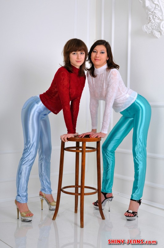 lesbian girls Dasha G & Dasha S in shiny disco pants