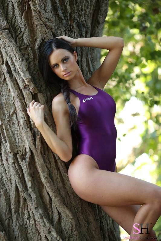 forest hiker chick Lauren in purple asics swimsuit
