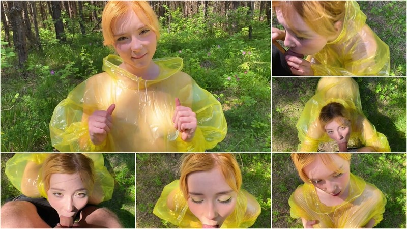 MoonFleur - Girl in Pvc Raincoat Suck Dick in the Forest [FullHD 1080P]