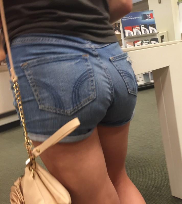 pretty butt in tight blue denim shorts