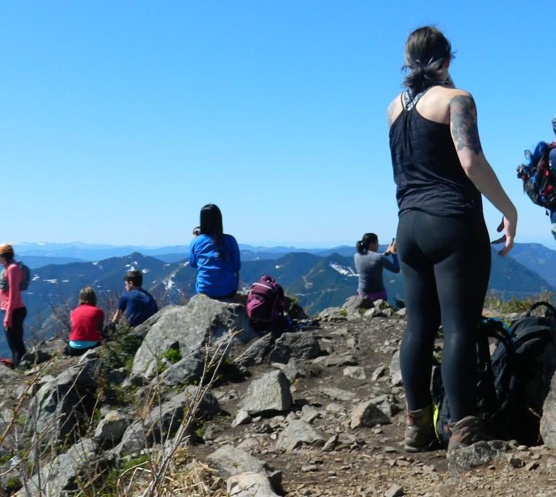 mountain climber girl in sexy black leggings