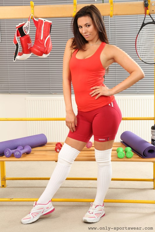 sweet boxer chick Maddie M in red adidas shorts