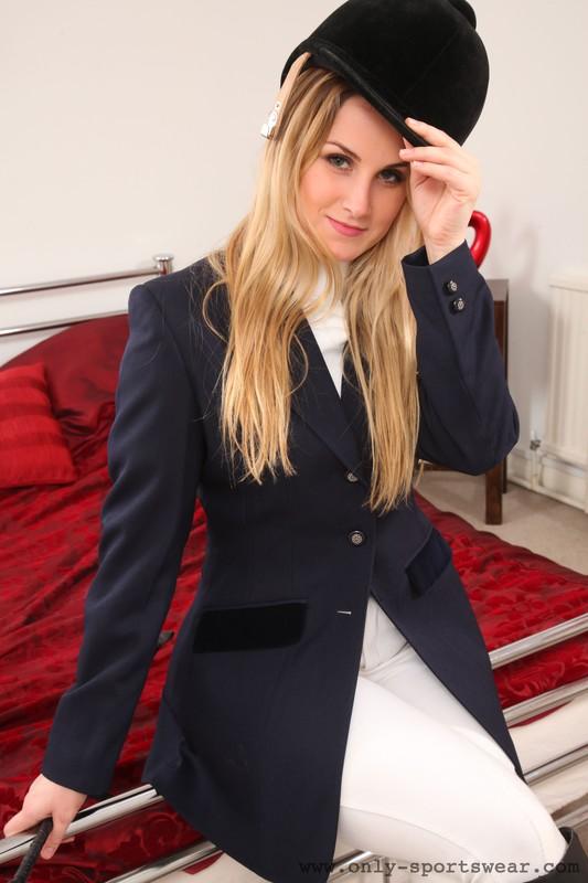 beautiful woman Lily May in equestrian uniform & jodhpurs