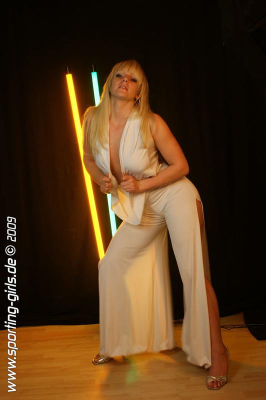 blonde model Jana in white bikini