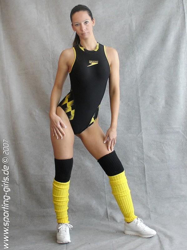 aerobics coach Cathy in speedo leotards