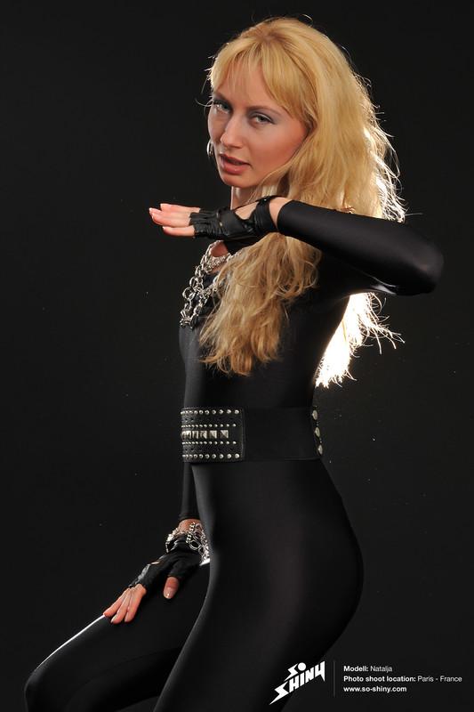 french girl Natalja in shiny black catsuit