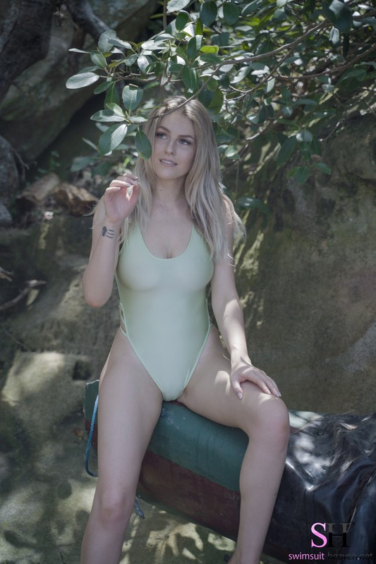 forest girl Paris in green 1 piece swimsuit