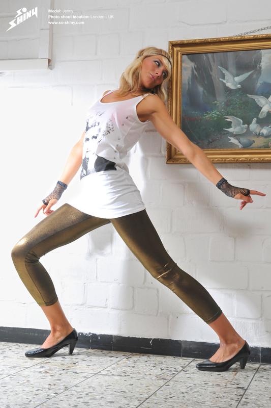 blonde model Jenny in shiny leggings