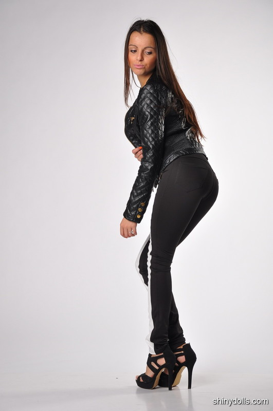 gorgeous shiny doll in tight pants