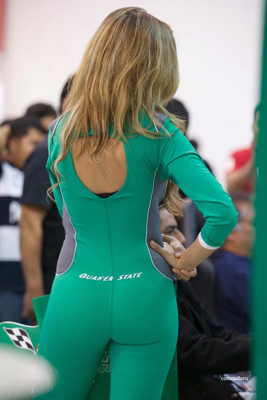 hispanic promo girl in sexy green catsuit