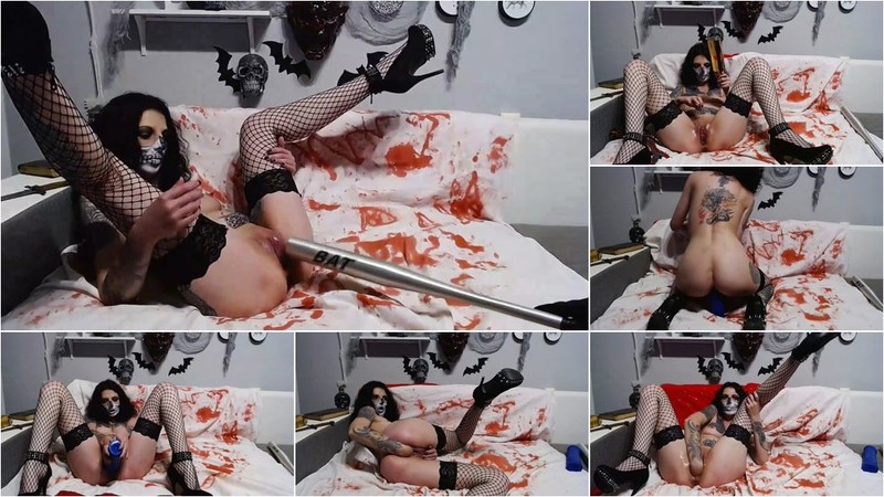 Unknown - Hell penetration baseball bat and fist in her demon pussy [FullHD 1080p]