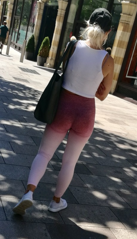 fit blonde lady in naughty yogapants