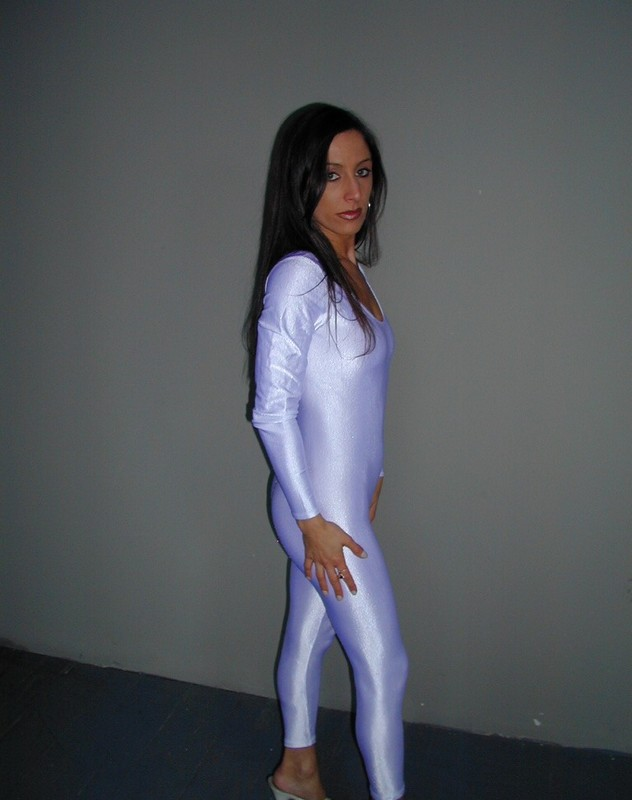 beautiful model Sondra in white catsuit