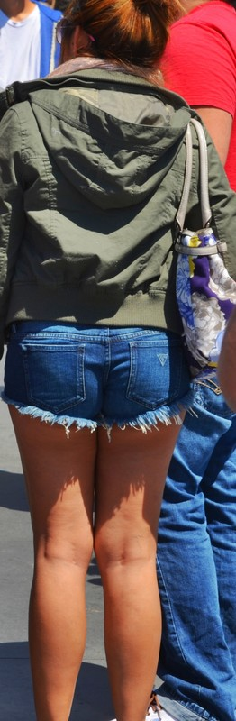 awesome booty in blue denim shorts