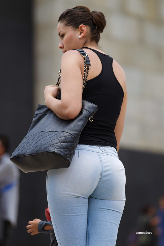 mexican booty in tight blue jeans