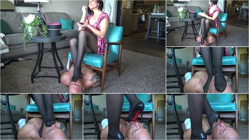 Cucky Is My Nylon Foot Stool While I Primp For My Date! [FullHD 1080P]