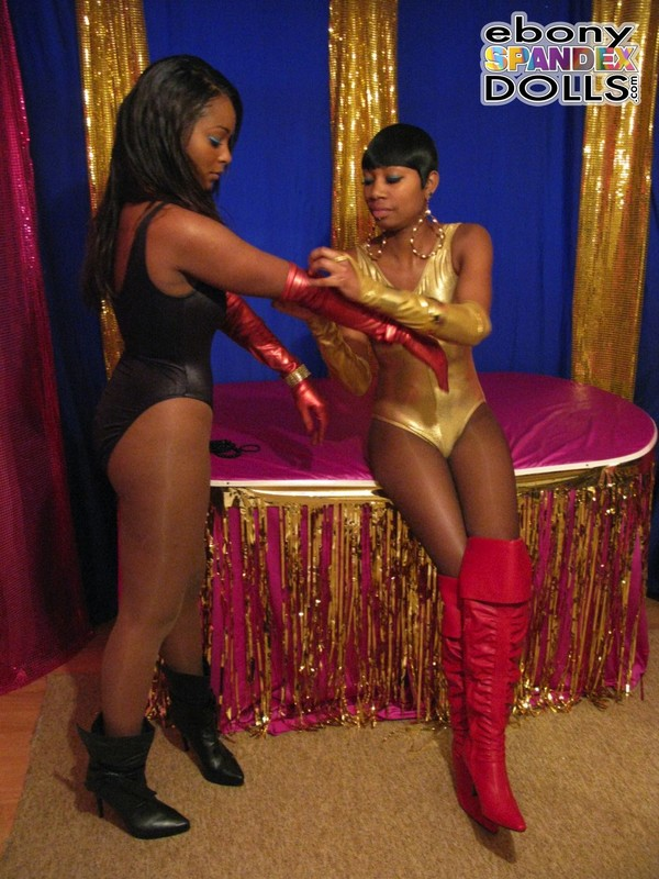 hot lesbian african girls in shiny leotards