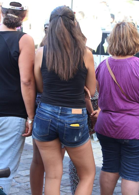 handsome lady in denim shorts